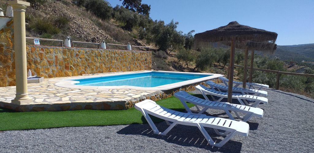 zicht op het zwembad van de vakantiewoning Salamander